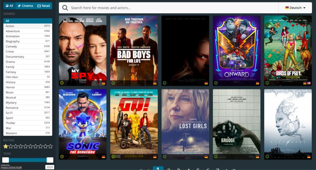 Cine.to Webseite